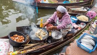 Video Thai Food at Tha Kha Floating Market (ตลาดน้ำท่าคา) - Don't Miss Aunty's Fried Oyster Omelet! MP3, 3GP, MP4, WEBM, AVI, FLV Februari 2018