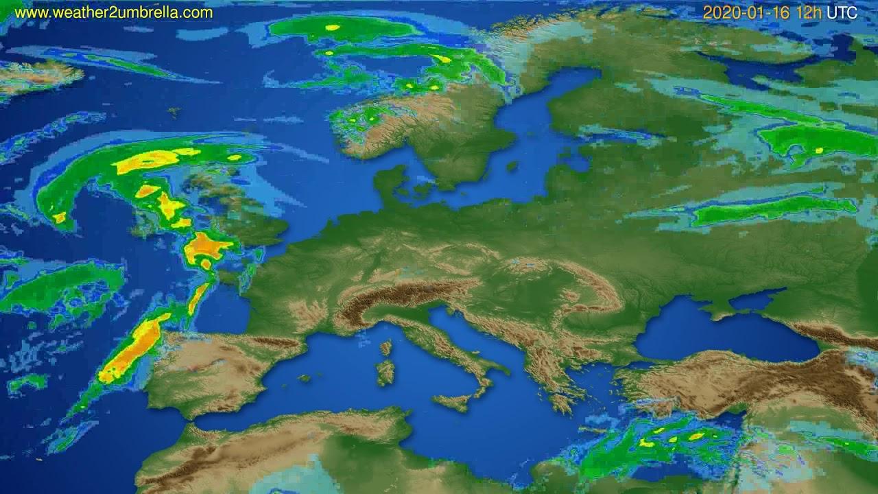 Radar forecast Europe // modelrun: 00h UTC 2020-01-16