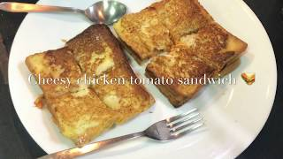 Cheesy chicken tomato sandwich wit a twist 🍅|grilled sandwich 🥪 |chicken sandwich|few minutes 2 us