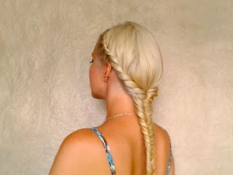 Easy fishtail braid hairstyles for medium long hair Coiffure facile a faire cheveux longs pour Noel