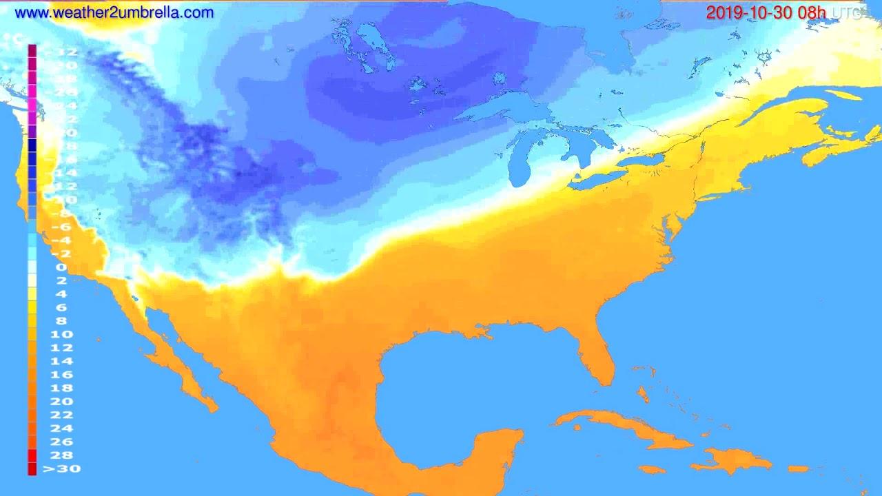 Temperature forecast USA & Canada // modelrun: 00h UTC 2019-10-29
