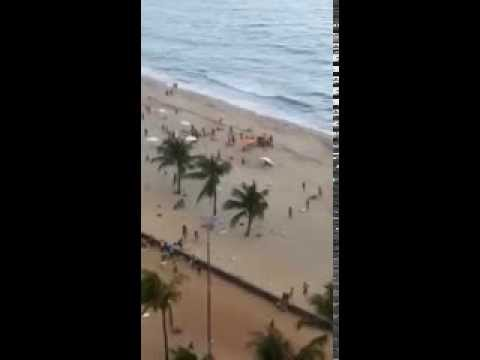 Impressive sea tornado hits people on a brazilean beach