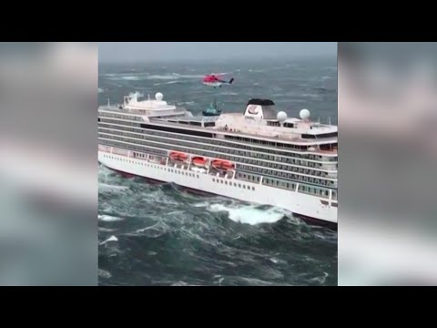 RAW VIDEO: Aerial of Viking Sky helicopter rescue