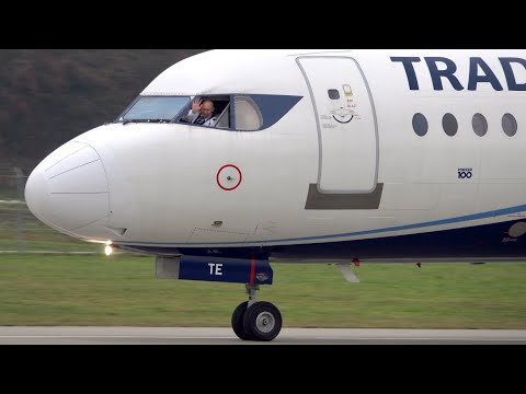 Beautiful Fokker 100 Take-Off at Bern - coolest Pilots EVER!!