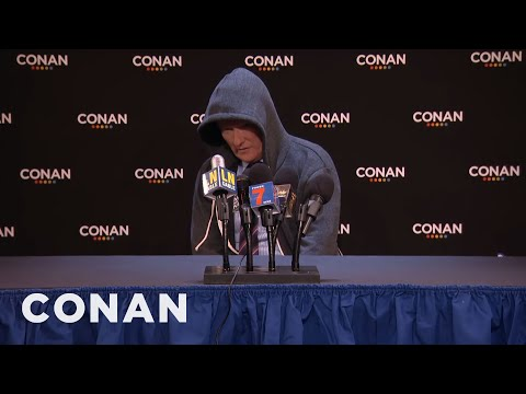 Conan O'Brien spoofs Cam Netwon's post game press conference.
