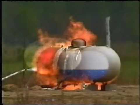 A demonstration of a propane tank exploding after extreme heating, despite a safety valve doing its job