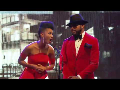 Banky W and Adesua Etomi Presenting Best Group / Duo to Sauti Sol at Soundcity MVP Awards Festival