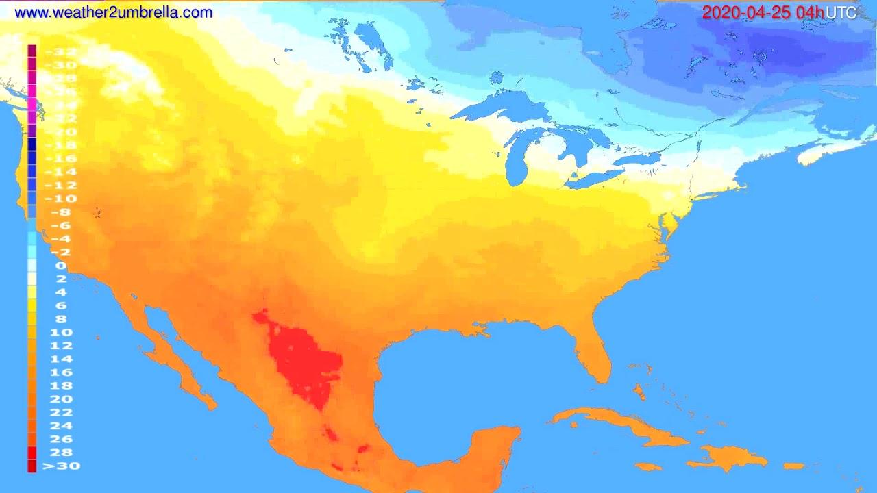Temperature forecast USA & Canada // modelrun: 12h UTC 2020-04-24