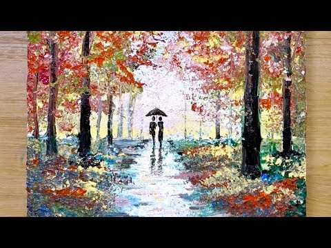 Aluminum painting technique / How to draw a couple under umbrella