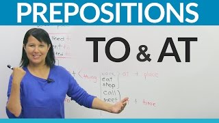 """Do you arrive """"to"""" the airport or """"at"""" the airport? Do you fly """"to"""" London or fly """"at"""" London? In this lesson, I will teach you an easy way to know which preposition to use when. I'll explain which word refers to movement and which one refers to location. Watch this lesson so you can be sure – today and always!https://www.engvid.com/learn-english-prepositions-to-or-at/TRANSCRIPTHi. I'm Rebecca from engVid. In this lesson you'll learn the difference between two commonly confused prepositions, which are """"to"""" and """"at"""". So, the thing to remember is that """"to"""" always suggests movement or direction. All right? """"To"""" with movement, you're going to someone, to someplace, or towards something. So, """"to"""" is movement or direction, and """"at"""" suggests a location in place or time. So, """"to"""" something, but """"at"""" somewhere. """"To"""" something, """"at"""" somewhere. Do you see the difference? """"To"""", there's movement. """"At"""", you've already arrived. Okay? So: """"to"""" and """"at"""". If you use those gestures it may help you to think through it while you're choosing which preposition to use.So, let's look at some examples. So, as again... As I said, again, we use """"to"""" for movement or direction towards a person, a place, or a thing. For example: """"I talked to him."""", """"We went to school."""", """"She walked to her car."""" A person, a place, a thing. Movement, """"to"""". Okay? All right, here are some other common verbs. There are lots and lots of verbs that we can use with this preposition """"to"""", which implies movement. These are some examples. You go to someplace, you go to school. You go to the university. You go to work. You run to something. You fly to London. You return to somewhere. Okay? Or you can also use lots of verbs with """"to"""" plus a person. You explain something to someone, send a letter to someone, read it to someone, write to someone, or speak to someone. There's a direction. Right? Whether you're speaking, or writing, or walking, or running - """"to"""" is always movement and direction. Good.Now, """"at"""" is steady. Whereas """