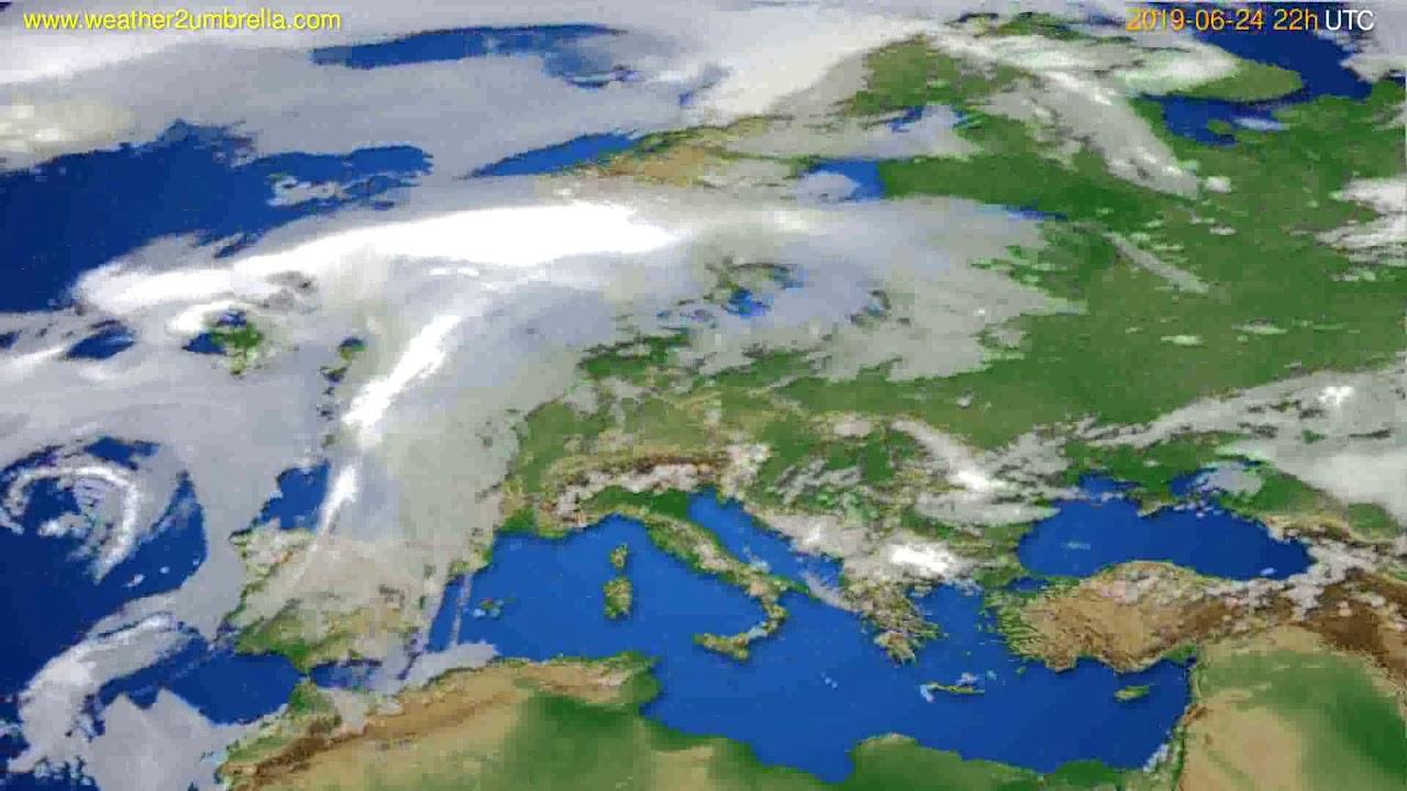 Cloud forecast Europe // modelrun: 00h UTC 2019-06-22