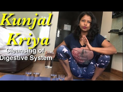 How to do Kunjal Kriya Induced Vomiting - for acidity constipation food poisoning yoga with Shaheeda