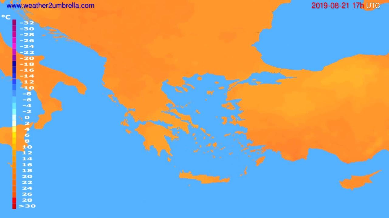 Temperature forecast Greece // modelrun: 12h UTC 2019-08-19