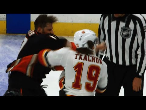 Video: Ryan Kesler sends Matthew Tkachuk's mouthguard flying with right fist
