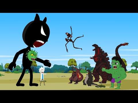 Godzilla vs Shin Godzilla - HULK: Blue Cartoon Cat CORONAVIRUS [HD]   Godzilla Animation Cartoon