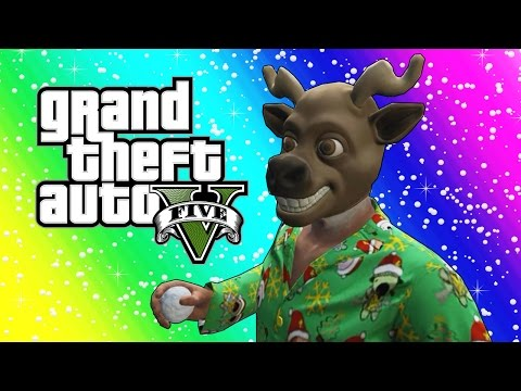 GTA 5 Funny Moments - Snowball Fights, Snowmen, Delivering Presents! (Christmas Edition) (видео)