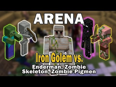 Minecraft Arena Battle Iron Golem vs. Enderman, Zombie, Skeleton, Zombie Pigmen