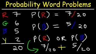 Probability Word Problems Using Marbles - Basic Review, Exampl...