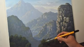 Mountains and Cliffs - Time-Lapse Acrylic Painting Demo by JM Lisondra
