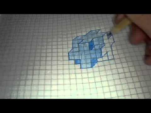 3D Kreuz Zeichnen in Blau