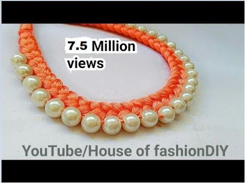 How To Make Silk Thread Necklace||Pearl Necklace At Home..!