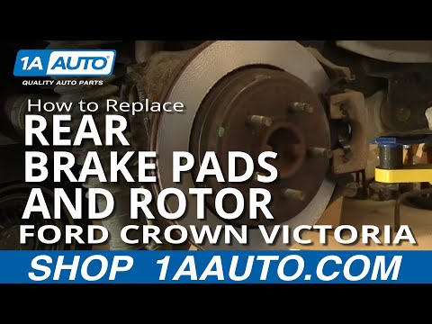 How To Install Replace Rear Brake Pads Rotors Ford Crown Victoria Grand Marquis 03-05 1AAuto.com