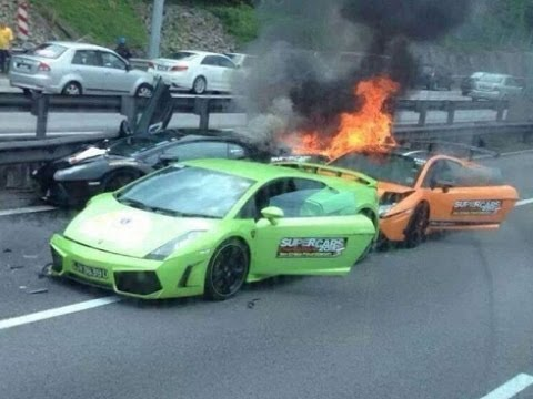Three Lambos burn to the ground after accident
