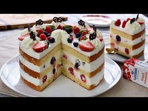 Tort cu frisca, iaurt si fructe pentru Revelion 2021 | JamilaCuisine