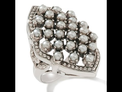 Cultured Freshwater Pearl Cluster Sterling Silver Ring