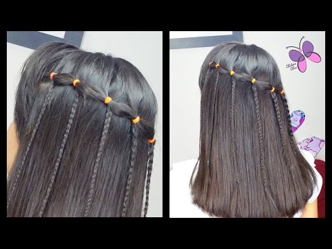 Elastic Waterfall Braid Quick And Easy Hairstyles Braided
