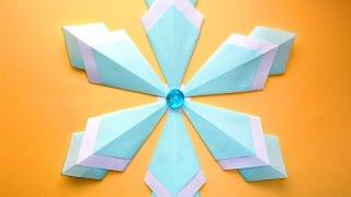 Оригами Снежинка из бумаги Новогодние поделки своими руками