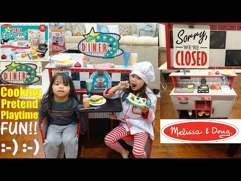 A Chef Pretend Playtime! A 2 In 1 Kitchen And Restaurant Playset. Food Cooking Toys For Kids