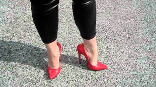 Gina White  Red High Heels Walking