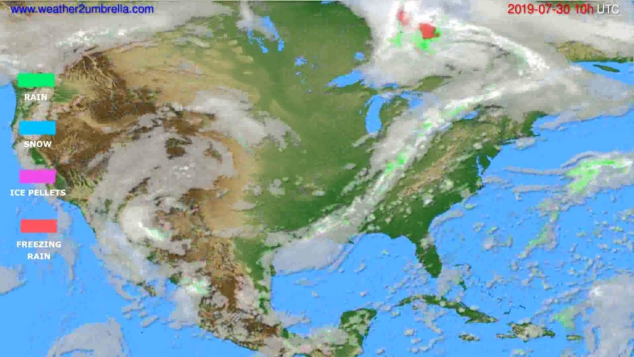 Precipitation forecast USA & Canada // modelrun: 00h UTC 2019-07-28