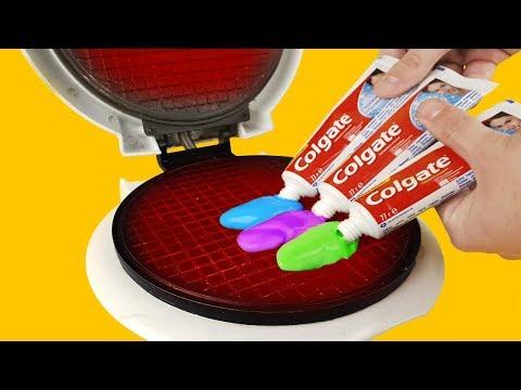 EXPERIMENT: Waffle Maker VS Rainbow Toothpaste - Thời lượng: 5 phút, 44 giây.