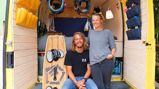 Couple CONVERT CAMPERVAN to TRAVEL EUROPE Kite Boarding 🏄🚐  - Smart Storage Systems! by Nate Murphy