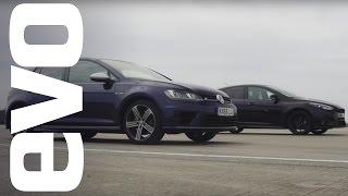 Ford Focus RS vs Volkswagen Golf R - which is fastest? | evo DRAG BATTLE by EVO Magazine