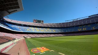 One of the most famous and iconic football stadiums in the world - Camp Nou in Barcelona (opened in 1957, capacity: 99 354)Camp Nou Experience: Tour & Museum - see the FC Barcelona Club history, all trophies (including 5 European Cups), Messi Space and explore the stadium. Tour is self guided and the basic ticket price is 25 €.FCB Museum (with football and other sports trophies) - 0:42European Cups (UEFA Champions League) - 10:48Messi Space - 11:35Stadium view - 14:39Access press room, mixed zone and pitch - 16:44Changing room area (visitor's dressing room) - 17:19Player's tunnel with Camp Nou Chapel - 17:56Field of play and first team bench - 18:36Commentary boxes - 19:57New Camp Nou model - 22:1329. June 2017, recorded with Sony HDR - PJ260 and GoPro Hero 5, HD POV, Spain, complete tour, Camp Nou 2017 Stadium Tour, FC Barcelona Camp Nou Stadium, Camp Nou Tour , FC Barcelona fans, Camp Nou Museum..feel free to comment, like or share :)