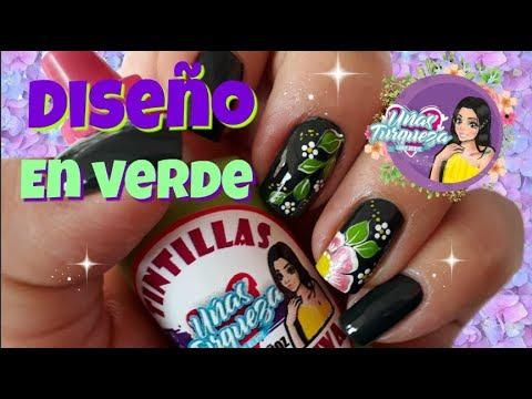 Modelos de uñas - Decoración de Uñas en color Verde/Diseño de Uñas con colores Oscuros