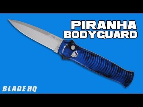 "Piranha Bodyguard Automatic Knife Blue (3.3"" Bead Blast Serr)"
