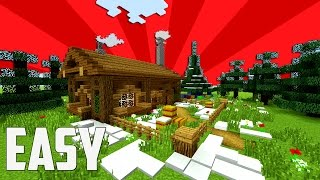 Minecraft: How To Make A CHRISMAS HOUSE ?   Winter Cabin - Shack - Hut Tutorial (Maybe)