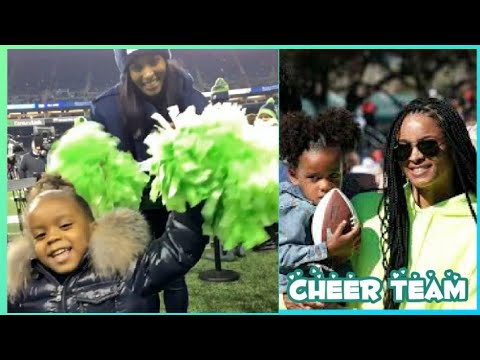Ciara and Sienna cheering on Russell