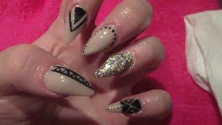Nude Stiletto Acrylic Nails And Black Nail Art, HOW TO, ACRYLIC NAILS