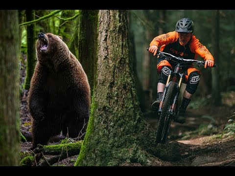 Grizzly Bear Chases a Mountain Biker (видео)
