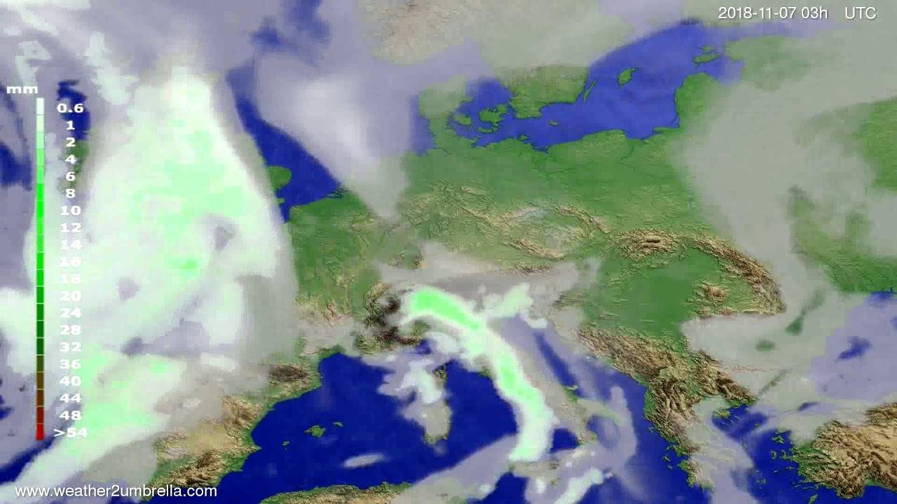 Precipitation forecast Europe 2018-11-04
