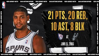 Tim Duncan's monster night (21p/20r/10a/8b) in GM 6 of 03' Finals |  Nets @ Spurs | #NBATogetherLi by NBA