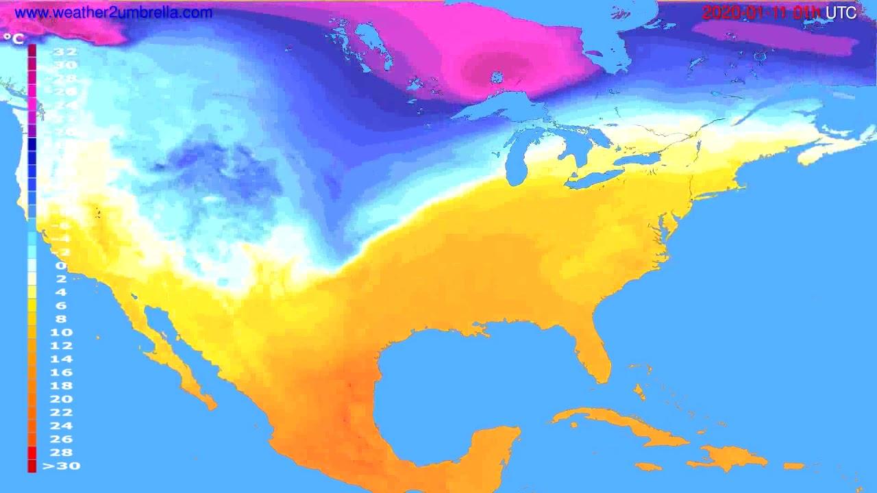 Temperature forecast USA & Canada // modelrun: 12h UTC 2020-01-09