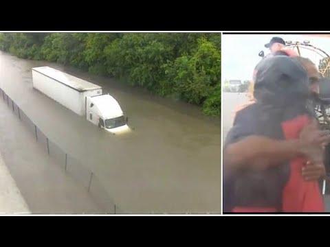 العرب اليوم - مراسلة أميركية تنقذ سائق شاحنة من الغرق
