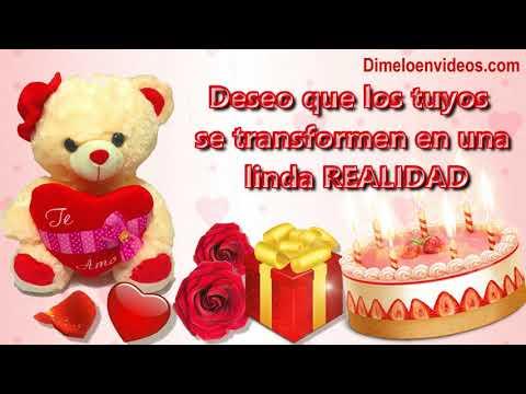 Tarjetas de amor - Frases para feliz cumpleaños con peluches, rosas de amor - Happy Birthday phrases
