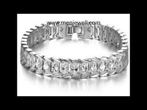 Latest  jewellery design mens Silver Bracelet for men by menjewell.com